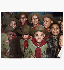 Troop 446 Boy Scouts meeting in Chicago, 1942 Poster