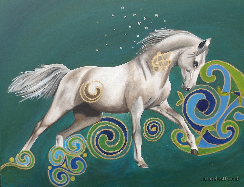 White Horse and Celtic Swirls. by naturelostfound