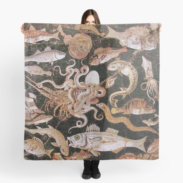 POMPEII COLLECTION / ANTIQUE OCEAN - SEA LIFE SCENE,OCTOPUS AND FISHES Scarf