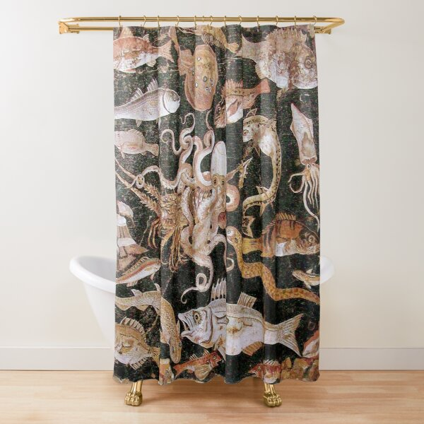 POMPEII COLLECTION / ANTIQUE OCEAN - SEA LIFE SCENE,OCTOPUS AND FISHES Shower Curtain