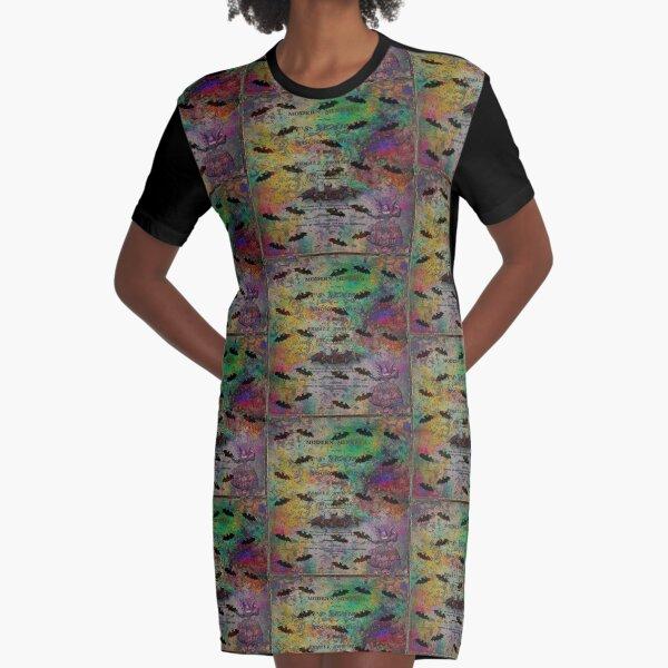 Modern Minerva Flying Bats Antique Multi Color Art   Graphic T-Shirt Dress