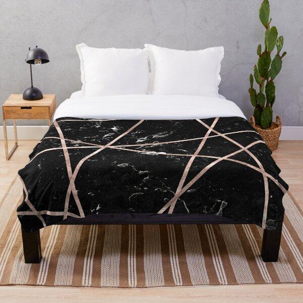 Black Marble Rose Gold Geo Glam #1 #geo #decor #art  Throw Blanket