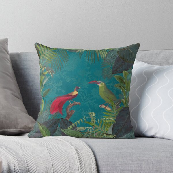 Birds Of Jungle Vintage Botanical Illustration Throw Pillow