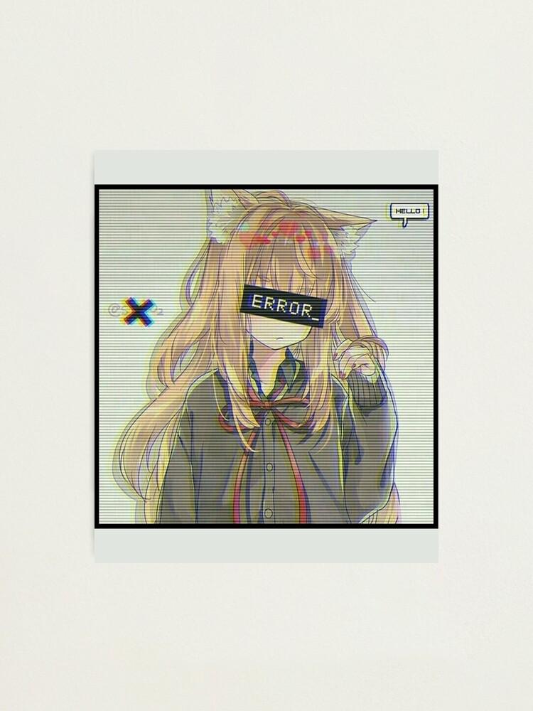 Error Glitch Sad Anime Girl Photographic Print By Simouser Redbubble