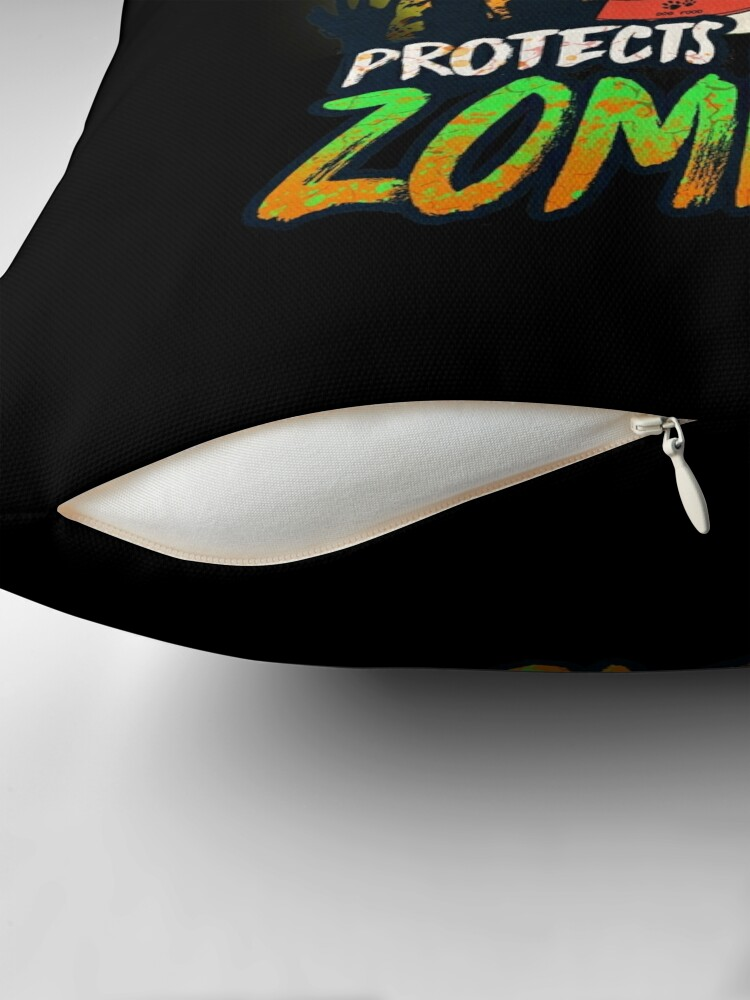 Alternate view of  My Laika Protects Me From Zombies - Funny Russo European Laika Halloween Zombie Eater Throw Pillow