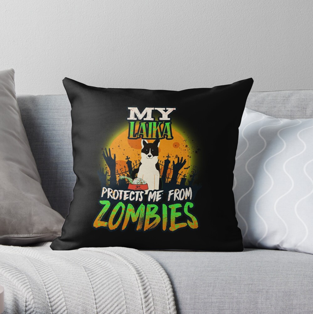 My Laika Protects Me From Zombies - Funny Russo European Laika Halloween Zombie Eater Throw Pillow