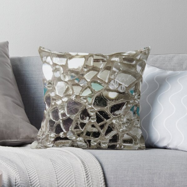 Silver Mirror and Glass Mosaic Throw Pillow