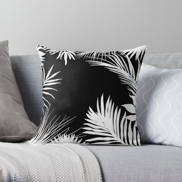 Palm Leaves Black And White Throw Pillow