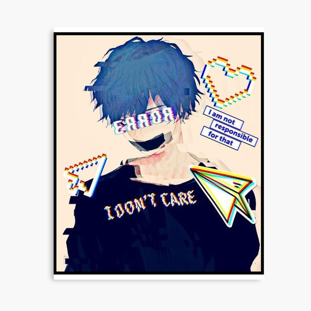 Error Glitch Sad Anime Boy Photographic Print By Simouser Redbubble