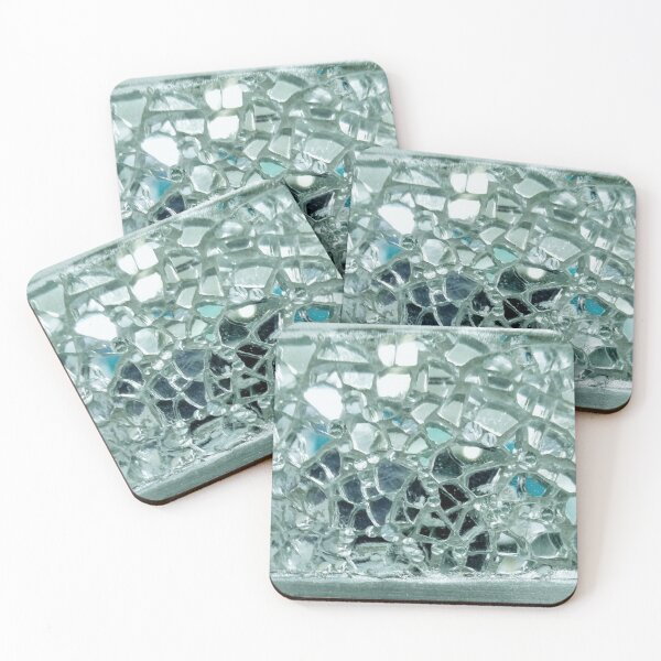 Icy Blue Mirror and Glass Mosaic Coasters (Set of 4)