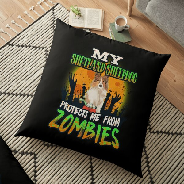 My Shetland Sheepdog Protects Me From Zombies - Funny Shetland Sheepdog Halloween Zombie Eater Floor Pillow