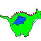 Cute green dragon by Melanie Jeyakkumar