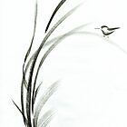 Bamboo Birdie - Sumie ink brush painting by Rebecca Rees