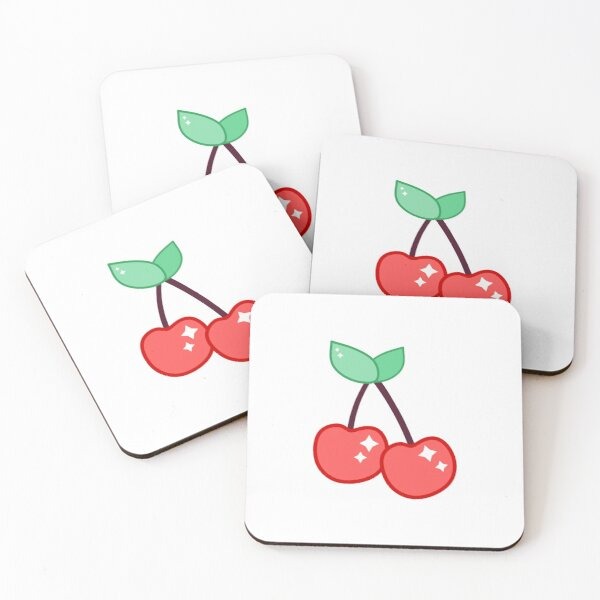 Cute Cartoon Red Cherry Sparkle Coasters (Set of 4)