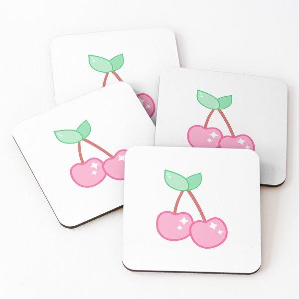 Cute Kawaii Cartoon Pink Cherry Sparkle Coasters (Set of 4)