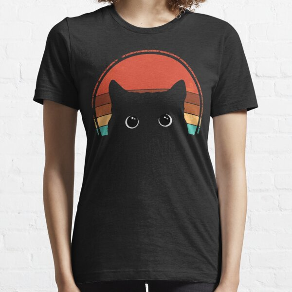 Black Cat Peeking Sunset Vintage Essential T-Shirt