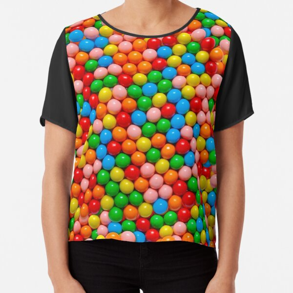 Mini Gumball Real Candy Photo Pattern Chiffon Top