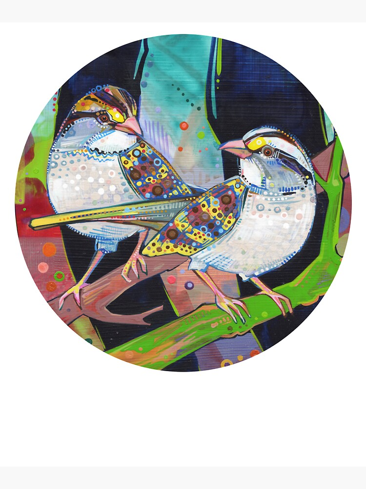 White-throated sparrows painting - 2012 by gwennpaints