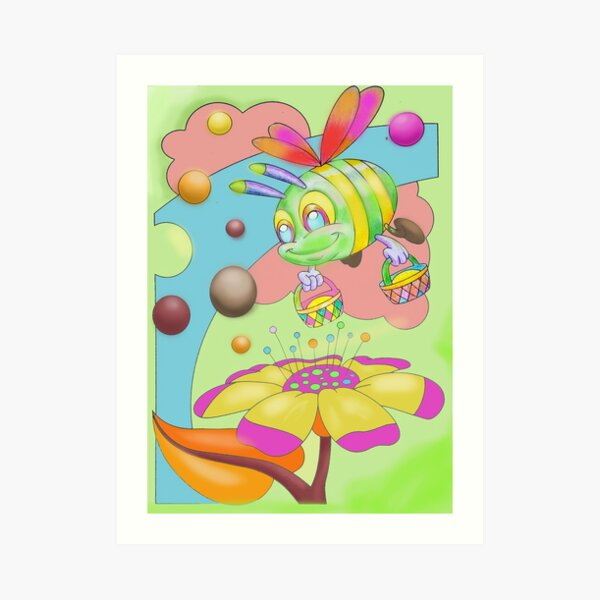 Busy bee shopping flowers collecting nectar Art Print