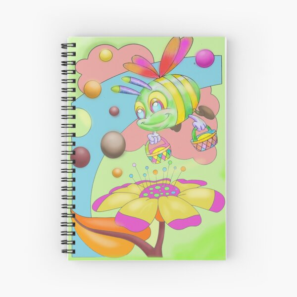 Busy bee shopping flowers collecting nectar Spiral Notebook