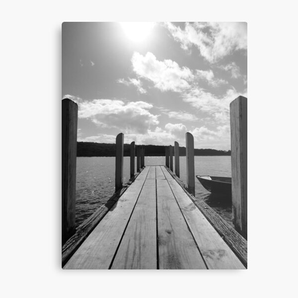 Jetty in black & white Metal Print