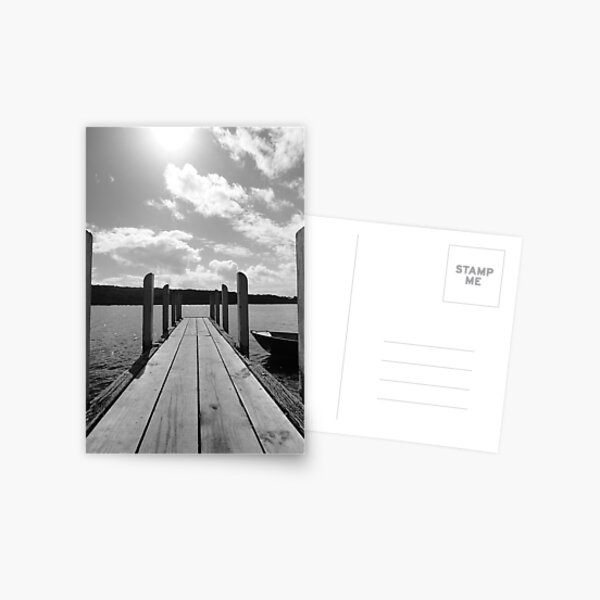Jetty in black & white Postcard