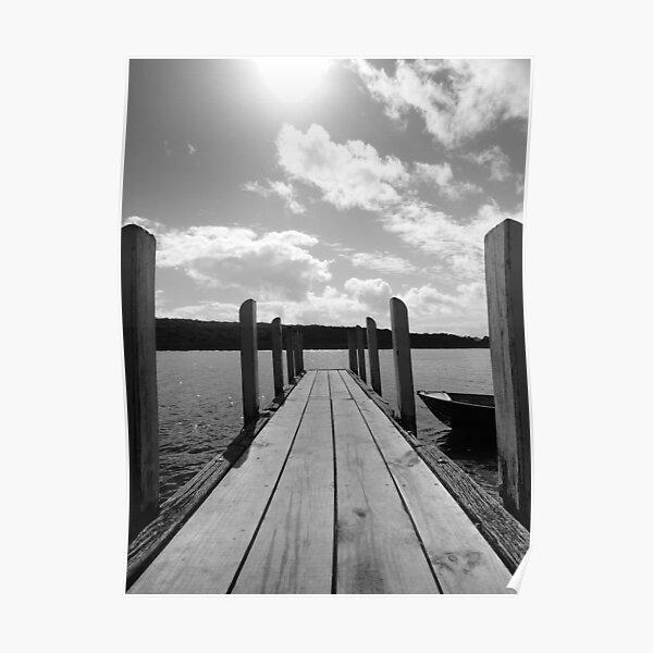 Jetty in black & white Poster