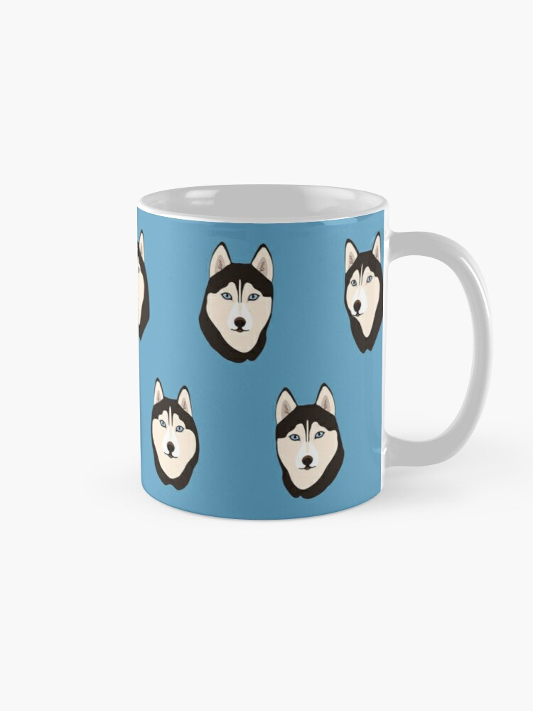 Alternate view of Husky Dogs Heads (pattern and stickers) Mug