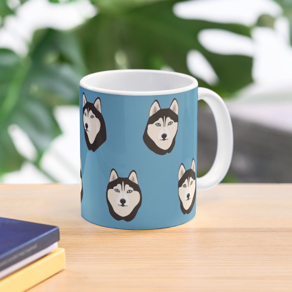 Husky Dogs Heads (pattern and stickers) Mug