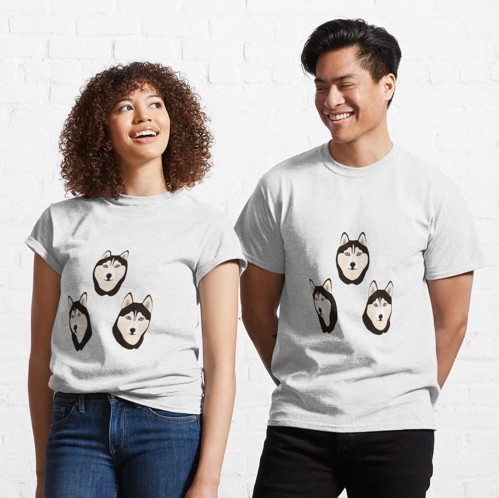 Husky Dogs Heads (pattern and stickers) Classic T-Shirt
