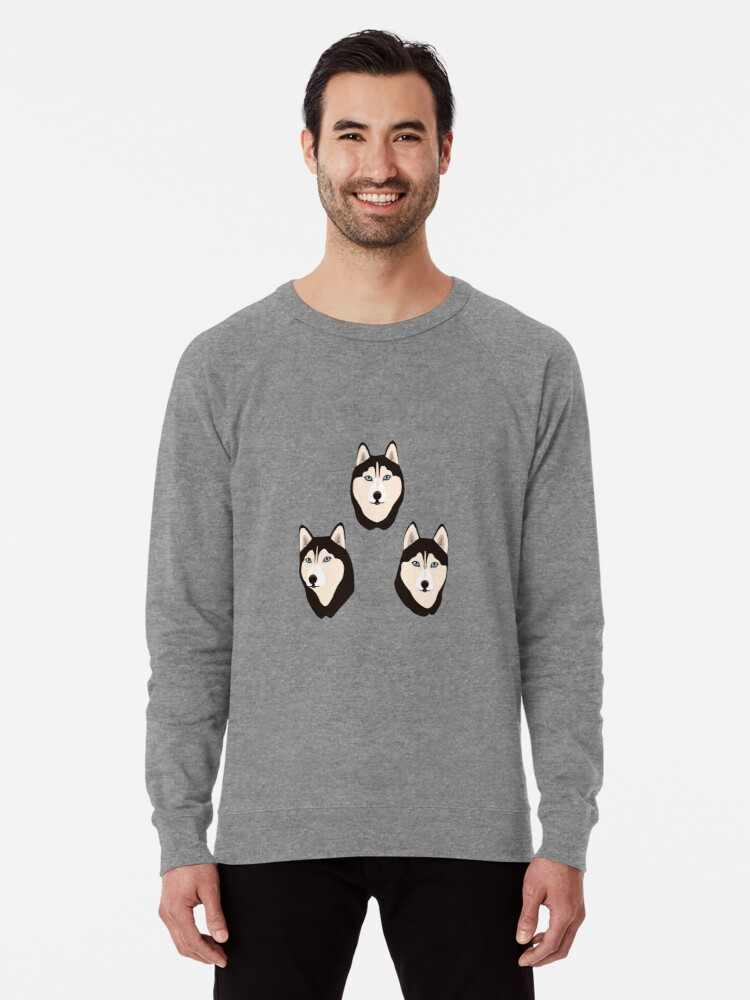 Alternate view of Husky Dogs Heads (pattern and stickers) Lightweight Sweatshirt