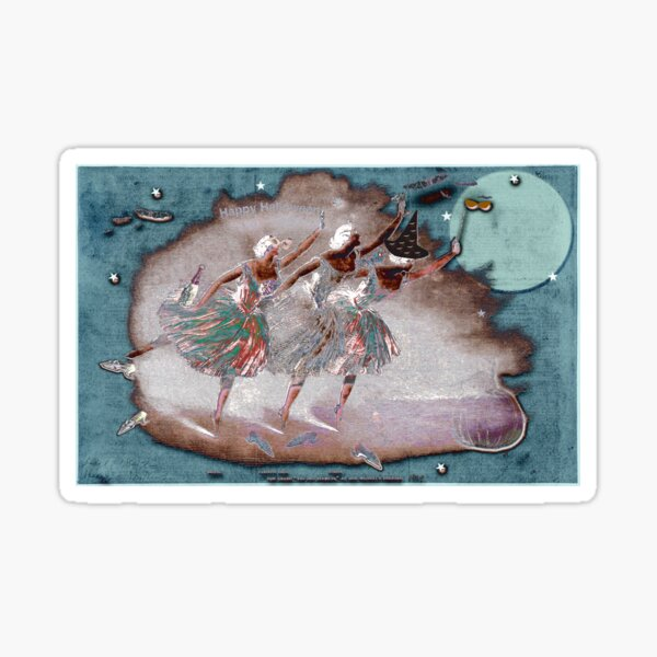 Happy Halloween Ballerina Trio Under A Full Moon In Mauve And Turquoise Sticker