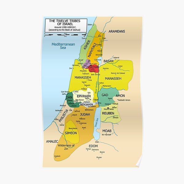 Map of Twelve Tribes of Israel from 1200 to 1050 According to Book of Joshua Poster