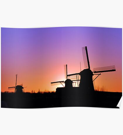 Sunset behind the mills Poster