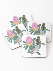 Australian Native Banksia - Australiana decor - Australian Native Bird - Diamond Dove Coasters