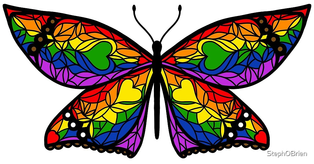 Fly With Pride: LGBTQ Flag Butterfly by StephOBrien