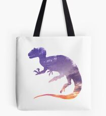 Purple Sky Allosaurus Silhouette Tote Bag