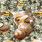 Burger Cheeseburger Cat On Money by SkylerJHill