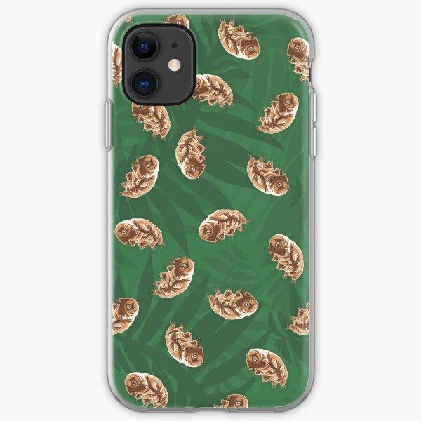 Cute Water Bear on Moss - Tardigrade Seamless Print iPhone Soft Case