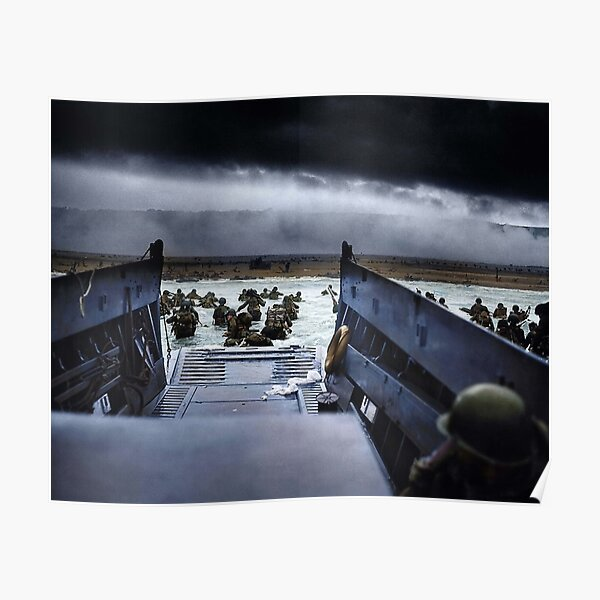 Men of the 16th Infantry Regiment, U.S. 1st Infantry Division wade ashore on Omaha Beach on the morning of 6 June 1944 # Poster
