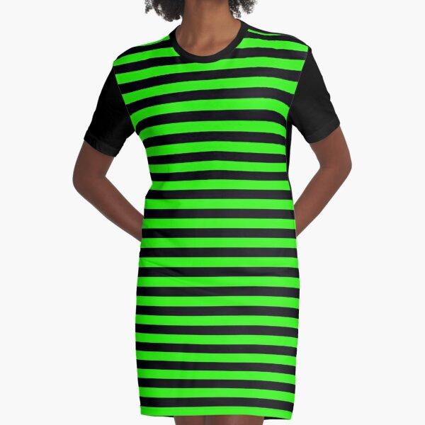 Green Stripes Black Stripes Graphic T-Shirt Dress