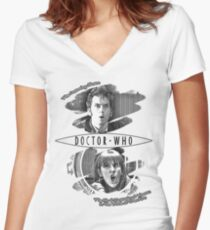 The Doctor and Donna Noble (with DW Logo) Women's Fitted V-Neck T-Shirt