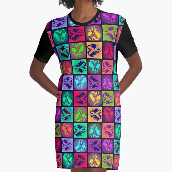 SilkenPop Multidirectional Graphic T-Shirt Dress