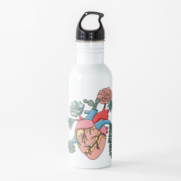 Succulent heart by Sasa Elebea Water Bottle