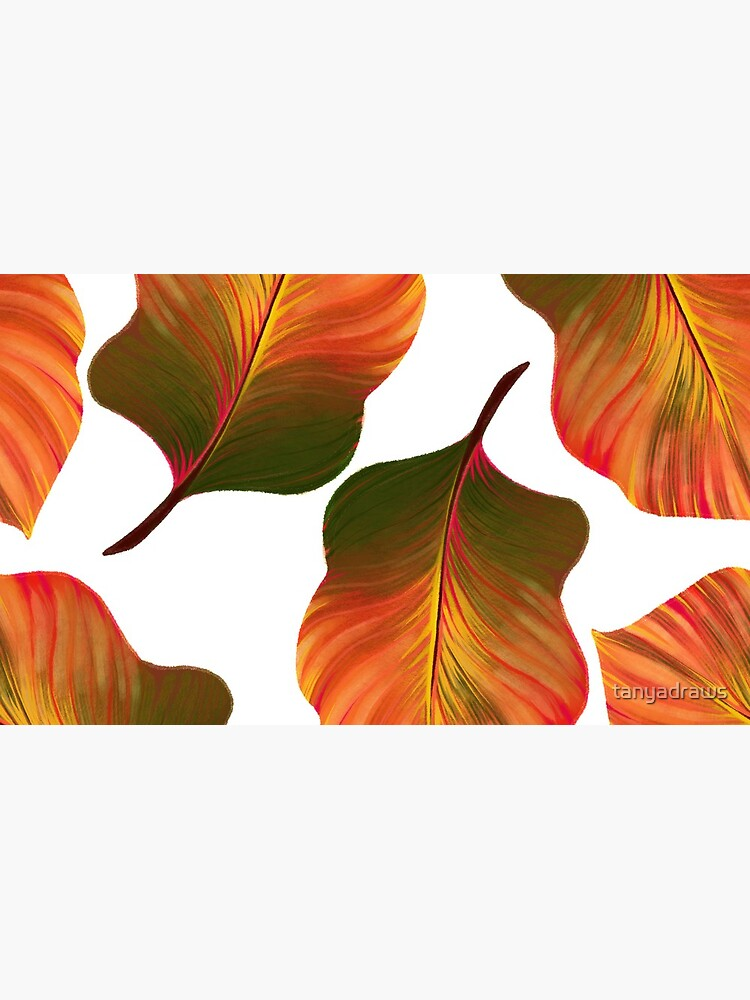 Tropical Leaves in Orange by tanyadraws