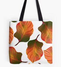 Tropical Leaves in Orange Tote Bag