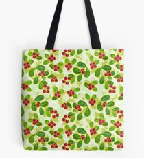 Cranberry Fruit Pattern on Green Tote Bag
