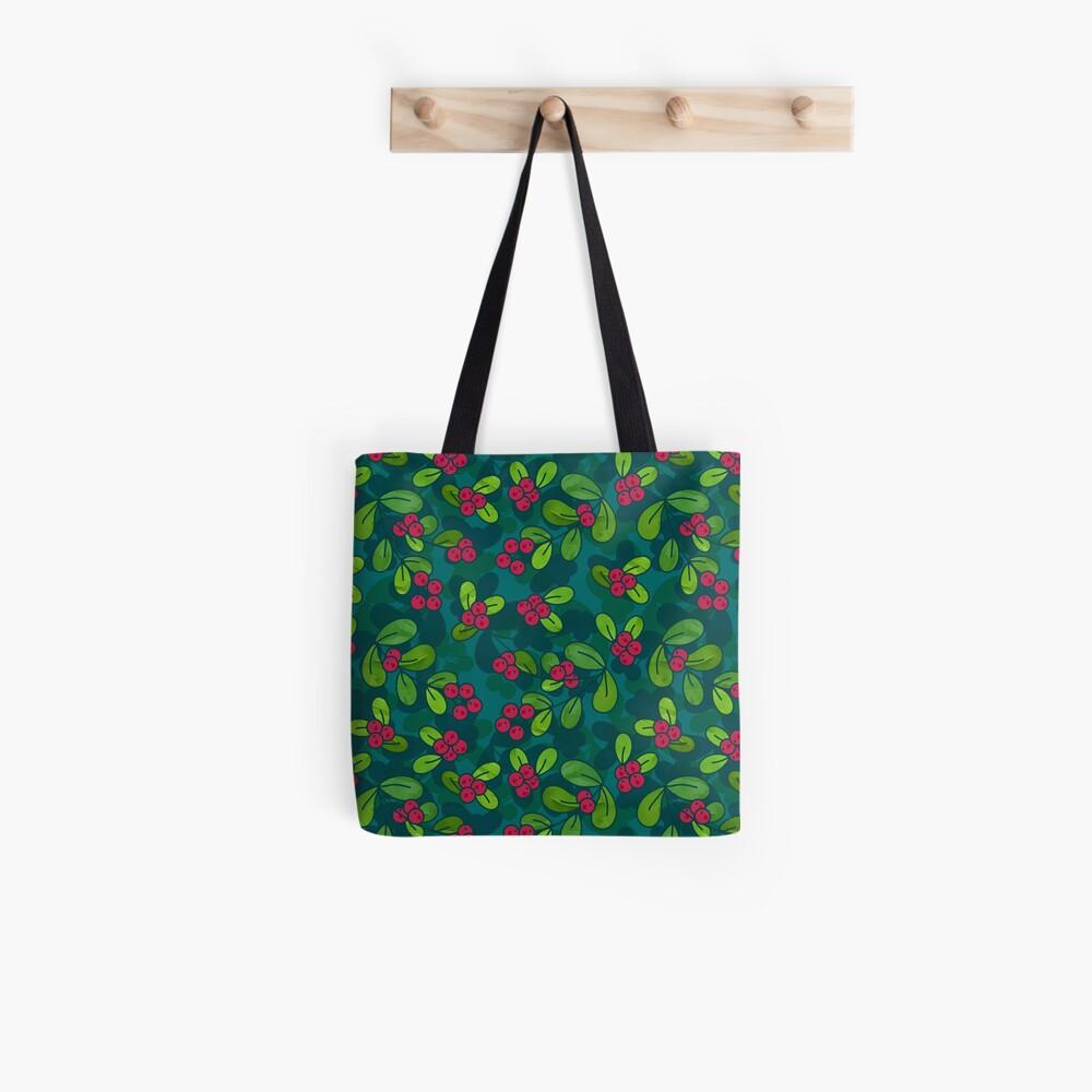 Cranberry Fruit Pattern on Dark Teal Tote Bag
