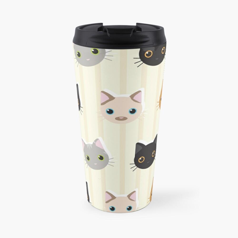 Kittens & Stripes Pattern Travel Mug