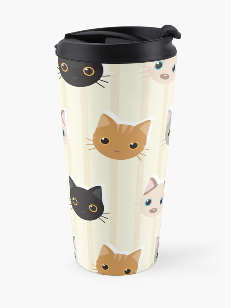 Alternate view of Kittens & Stripes Pattern Travel Mug